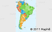 Political Simple Map of South America, political shades outside