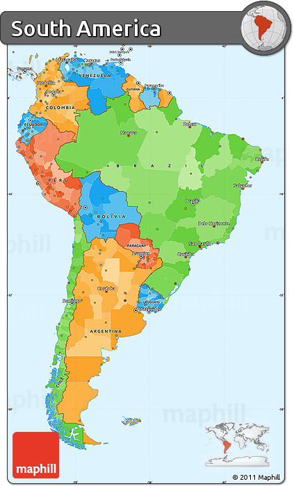 Free Political Simple Map of South America, single color outside ...