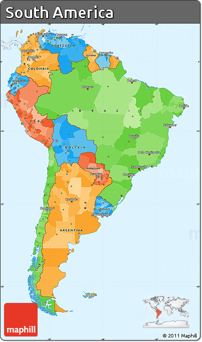 Free political simple map of south america single color for What color is south america