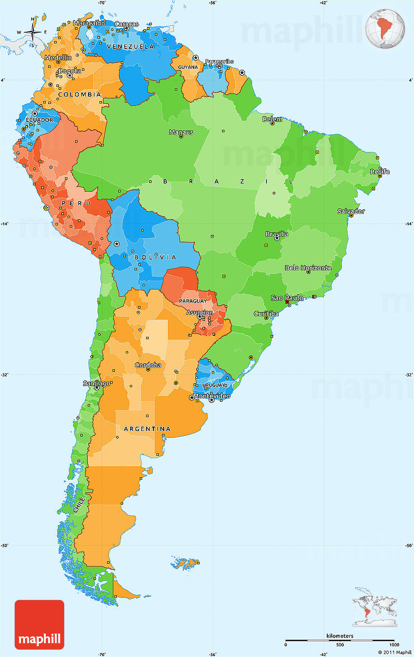 Political Simple Map Of South America Single Color Outside - Colored outline map of ecuador
