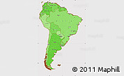 Political Shades Simple Map of South America, cropped outside