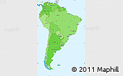 Political Shades Simple Map of South America, political outside