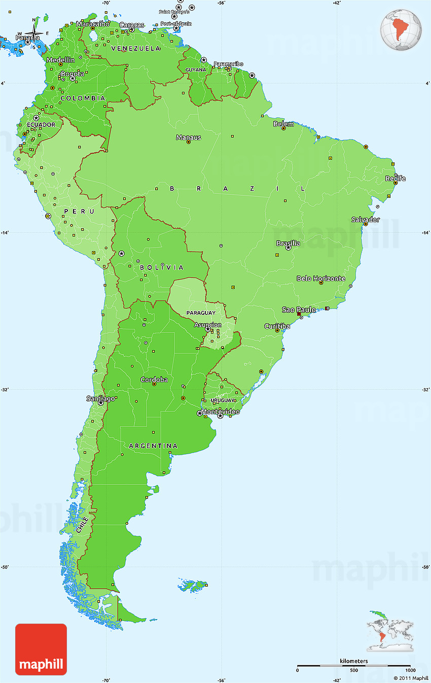 Political Shades Simple Map of South America