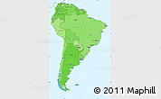 Political Shades Simple Map of South America, single color outside