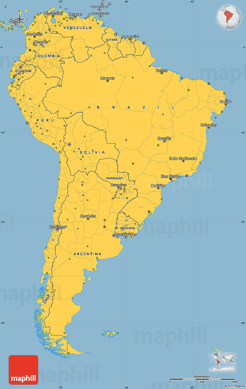 savanna style simple map of south america