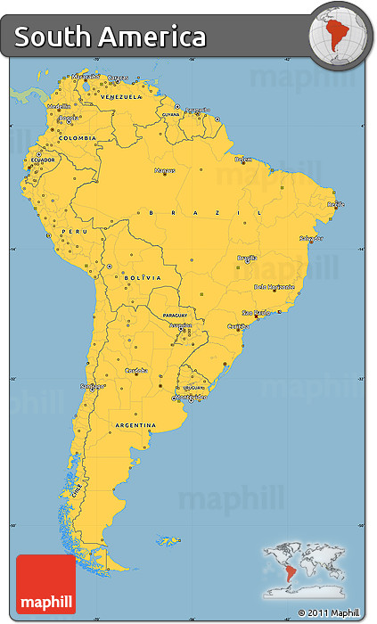Free savanna style simple map of south america single for What color is south america