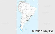 Silver Style Simple Map of South America, single color outside