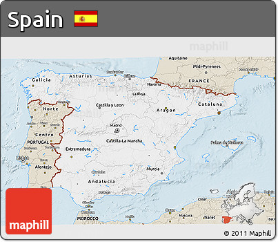 Classic Style 3D Map of Spain