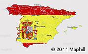 Flag 3D Map of Spain, flag centered