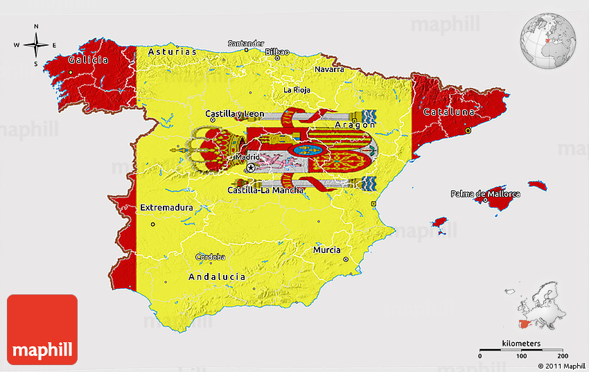 3d Map Of Spain.Flag 3d Map Of Spain Flag Rotated