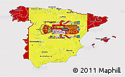 Flag 3D Map of Spain, flag rotated