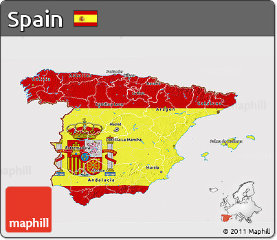 Flag 3D Map of Spain