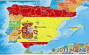 Flag 3D Map of Spain, political outside