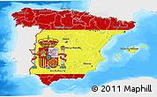 Flag 3D Map of Spain, single color outside, bathymetry sea