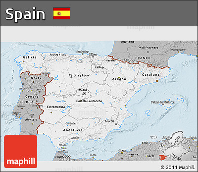 Gray 3D Map of Spain