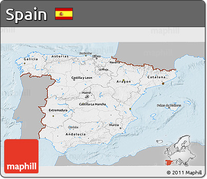 Gray 3D Map of Spain, single color outside