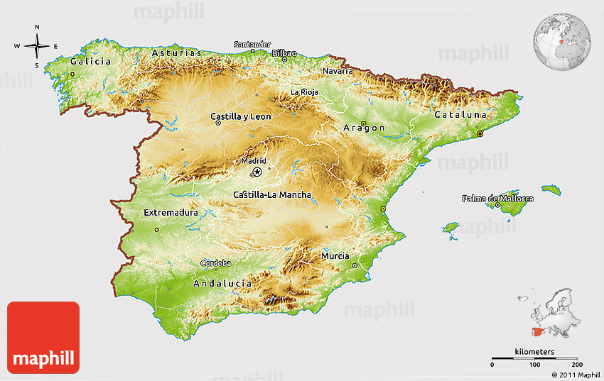 3d Map Of Spain.Physical 3d Map Of Spain Cropped Outside
