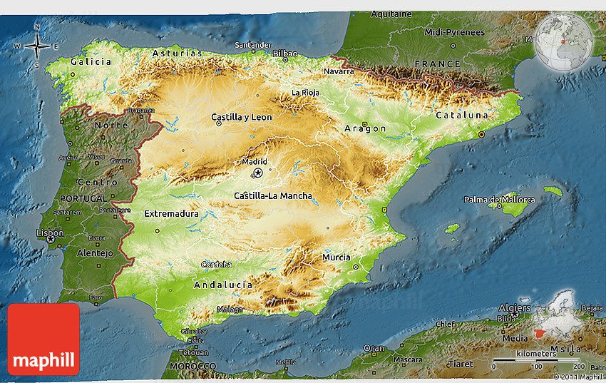 3d Map Of Spain.Physical 3d Map Of Spain Darken