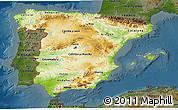 Physical 3D Map of Spain, darken
