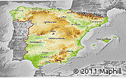Physical 3D Map of Spain, desaturated