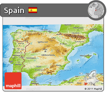 3d Map Of Spain.Free Physical 3d Map Of Spain