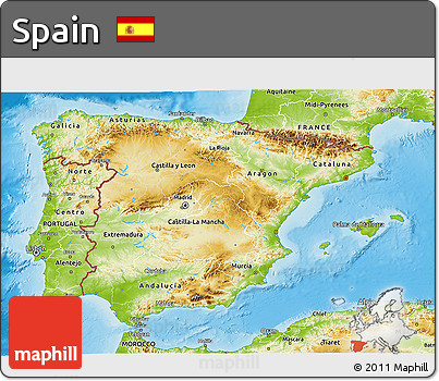 Physical 3D Map of Spain
