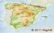 Physical 3D Map of Spain, lighten