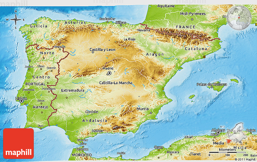 PHYSICAL MAP OF SPAIN - Imsa Kolese on map of maspalomas spain, map of porto spain, map of torrejon spain, map of la manga spain, map of spain major cities, map of santander spain, map of toledo spain, map of irun spain, map of rioja region spain, map of ciudad real spain, map of palamos spain, map of santillana spain, map of priorat spain, map of gava spain, map of ribera del duero spain, map of cadiz spain, map of nerja spain, map of sanlucar spain, large map of spain, map of spain with regions,