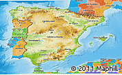 Physical 3D Map of Spain, political outside, shaded relief sea