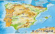 Physical 3D Map of Spain, political shades outside, shaded relief sea