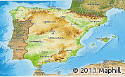 Physical 3D Map of Spain, satellite outside, shaded relief sea