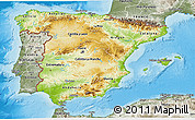 Physical 3D Map of Spain, semi-desaturated, land only