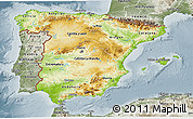 Physical 3D Map of Spain, semi-desaturated