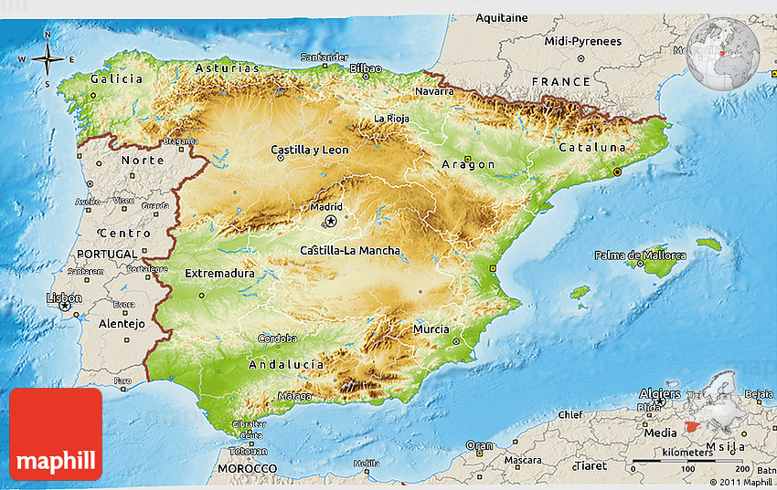 3d Map Of Spain.Physical 3d Map Of Spain Shaded Relief Outside