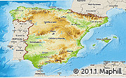 Physical 3D Map of Spain, shaded relief outside