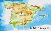 Physical 3D Map of Spain, single color outside