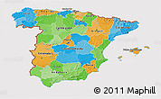Political 3D Map of Spain, cropped outside