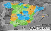 Political 3D Map of Spain, darken, desaturated
