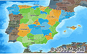 Political 3D Map of Spain, darken, semi-desaturated, land only