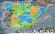 Political 3D Map of Spain, darken, semi-desaturated