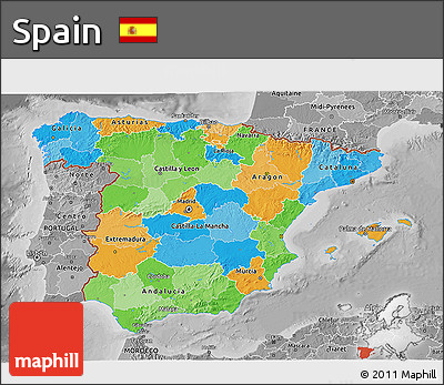Political 3D Map of Spain, desaturated