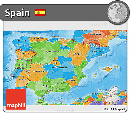 Political 3D Map of Spain