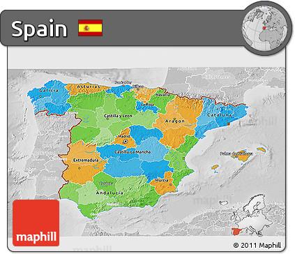 Political 3D Map of Spain, lighten, desaturated