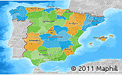 Political 3D Map of Spain, lighten, desaturated, land only