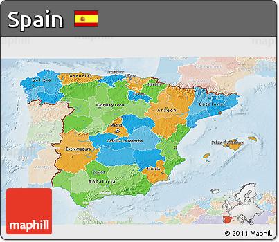 Political 3D Map of Spain, lighten