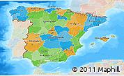 Political 3D Map of Spain, lighten, land only