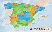 Political 3D Map of Spain, lighten