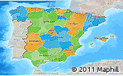 Political 3D Map of Spain, lighten, semi-desaturated, land only