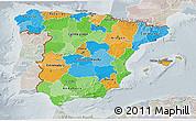 Political 3D Map of Spain, lighten, semi-desaturated