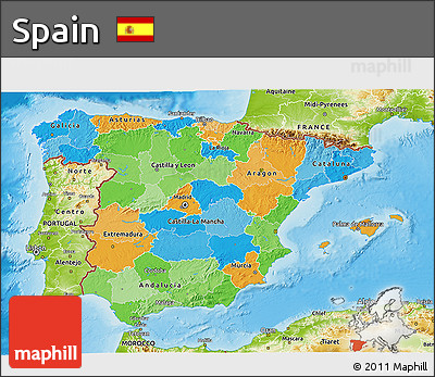 Political 3D Map of Spain, physical outside